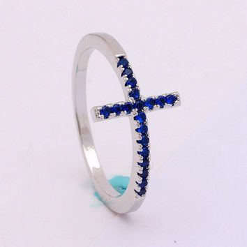Religious Trend Sideways Cross ring Royal blue black Czech zircon crystal mixed size silver plated engagement ring for women
