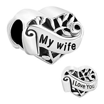 Christmas Gifts Silver Plated Heart I Love You My Wife Charm New Sale Cheap Beads Fit Pandora Jewelry Charms Bracelet