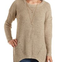 Ribbed Pointelle Sweater with Side Slits by Charlotte Russe - Brownie