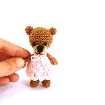 tiny girl bear, miniature bear, little crocheted bear. amigurumi tiny bear, love bear, teddy bear, wee bear pink brown
