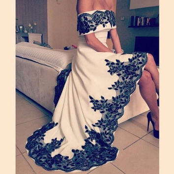 Classic Black And White High Low Off the Shoulder Short Cocktail Party Dresses Short Front Long Back Prom Gowns robe de cocktail