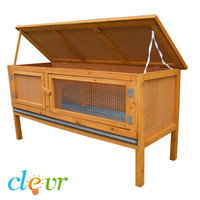 Rabbit Hutch Pet Cage Small Animal Bunny House Outdoor Chicken Wooden Pen Coop