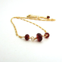 Red garnet necklace, January birthstone garnet, 14K gold fill delicate necklace, wine red garnet jewelry, simple gold red necklace