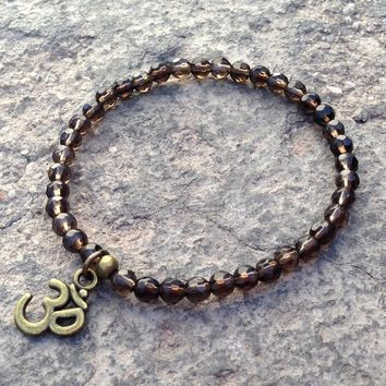 Positivity, Fine Faceted Smoky Quartz Bracelet with Om Charm