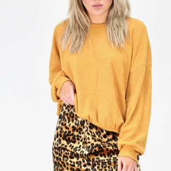 Brushed Corduroy Puff Sleeve Sweater {Golden Mustard}