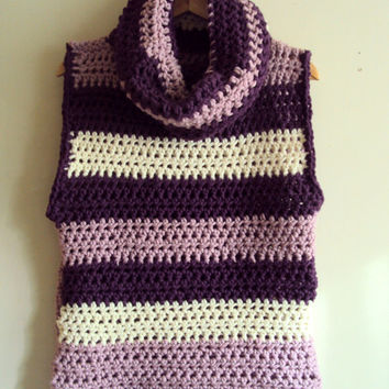 Chunky Sweater Vest Poncho Cowl Knit Vest Women's Clothing FREE SHIPMENT