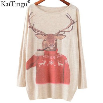 KaiTingu 2016 Autumn Winter Fashion Women Long Batwing Sleeve Knitted Christmas Deer Print Sweater Jumper Pullover Knitwear Tops