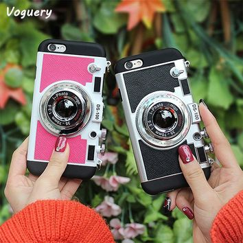 Voguery 3D Camera Design Back Cover for iPhone 7 Case with Free Neck Lanyard Mobile Phone Shell for iPhone 7Plus Case with Strap
