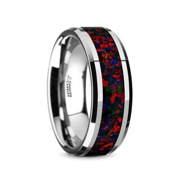 Black Red Opal Inlay Tungsten Carbide Wedding Band, Beveled Edges