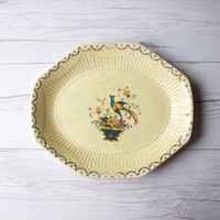 Vintage Yellow Ceramic Decorative Serving Platter Tray with Colorful Painted Bird and Flowers | Romantic, Feminine Style