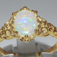 Luxurious Solid 9K Yellow Gold Natural Fiery Opal Womens Solitaire Engagement Ring - Made in England