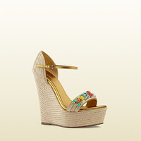 Gucci - metallic leather espadrille wedge 371591HAX109880