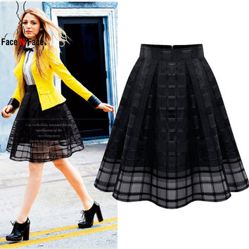 Women Organza Midi Skirts New 2015 Summer Style Elastic High Waist Zipper Ladies Skirt Female Pleated A Line Tulle Skirts