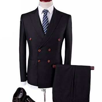 Slim Fit Three-Piece Double Breasted Wedding Suit