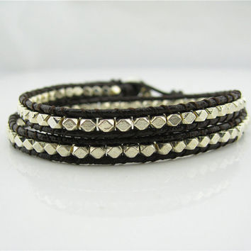 2 Wrap Silver Beads Nuggets Simulated Leather Wrap Bracelet