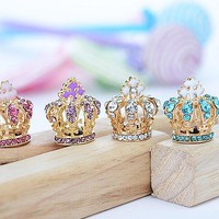 Crystal Rhinestones Crown dust plug for cell phone earphone plug fashion phone accessories Cellphone Charms