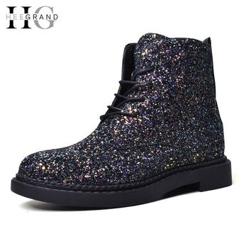 HEE GRAND Women Spring Lace-Up Ankle Boots Woman Platform Shoes Woman Glitter Casual Nubuck Leather Slip On Flats Boots XWX4718