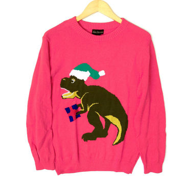 Alex Stevens Dinosaur Christmas T Rex Ugly Holiday Sweater – Pink