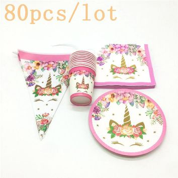 80Pcs/Lot Pink Unicorn Theme Cup+Plate+Napkin+Flag Kid Birthday Party Decoration Set For Family Party Baby Shower Wedding Supply