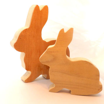Snuggle Bunny Large, Small, or Standing Wooden Rabbit; Unfinished or Painted with Choice of Colors