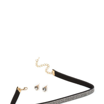 Glitzy As Charged Rhinestone Choker Set
