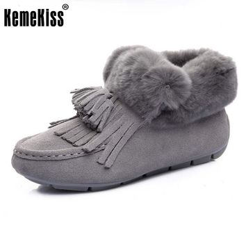 KemeKiss Winter Shoes Women  Real Leather Thick Fur Snow Boots Women Tassels Flat Booties For Women Warm Plush Botas Size 35-39