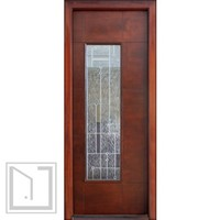 Wind-load Rated, Single Door, Modern Corsico Glass, Prehung Solid wood