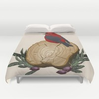 Bird on a Log Duvet Cover by Texnotropio