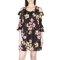 Miss Black Wide Neck Long Sleeve Floral Print Mini Dress
