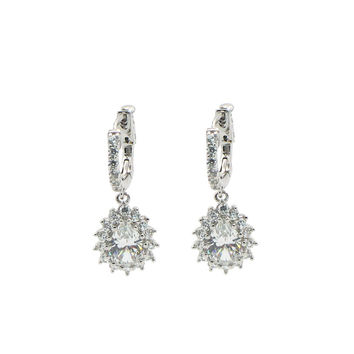 Fronay Collection Bridal Cubic Zirconia Huggie Earrings: 925 Sterling Silver