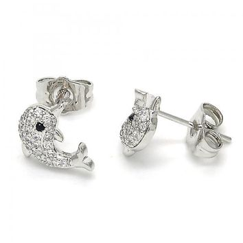 Rhodium Plated 02.310.0020 Stud Earring, Dolphin Design, with Black and White Cubic Zirconia, Polished Finish, Rhodium Tone