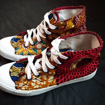 Unisex womens mens sneakers african print shoes african shoes 11.5 hippie wholesale ankara wax print shoe patchwork ghana ghanaian hi tops