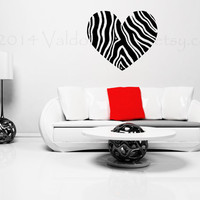 Zebra print heart vinyl wall decal, home decor, wall sticker, decal, wall graphic, vinyl decal, vinyl graphic decal, wall art