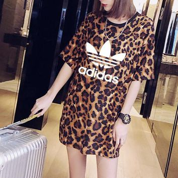 """Adidas"" Women Casual Fashion Letter Leopard Print Short Sleeve Middle Long Section T-shirt Mini Dress"