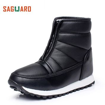 SAGUARO Winter Snow Boots Mother Shoes Woman Waterproof Platform Faux Fur Lined Warm Ankle Boots for Women Black Female Shoes
