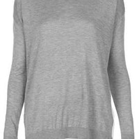 Knitted Jumper With Woven Back - Topshop USA