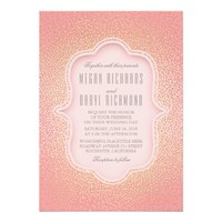 Pink and Gold Glitter Vintage Wedding Card