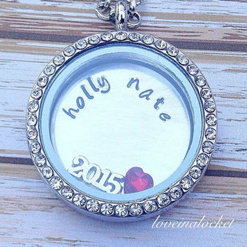 Couples Wedding Locket, Floating Locket, Bride Necklace, Bride Locket, Wedding Gift, Hand Stamped Necklace, Bridal Shower Gift, Locket Gift