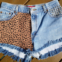 High waisted denim cheetah shorts by ModernPrincessXOXO on Etsy