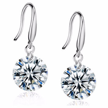 8mm Crystal Zircon Drop Earrings - 5 color choices
