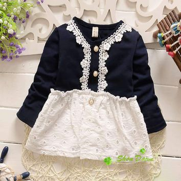 2018 Spring and Autumn Baby Girls Sweet Cartoon Lace Hollow Cute Cardigan,children's cardigan outwear V1913
