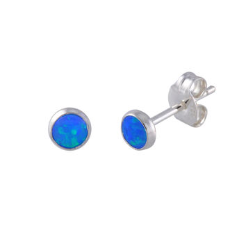 Sterling Silver Blue Green Opal Small Stud Earrings for Women 5mm Round Gemstone