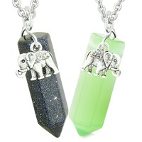 Lucky Elephant Love Couple Best Friends Crystal Points Goldstone Neon Green Simulated Cats Eye Necklaces