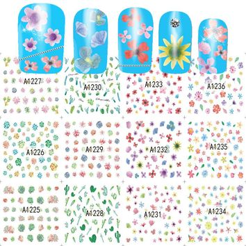 12 Designs/Sets Flower Sticker Nail Water Transfer Tips Colorful Small DIY Tips Decorations Nail Art Tattoos A1225-1236
