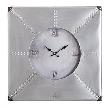 "Oversized Roman Square Wall Clock -24"" In Beautiful Silver Rustic Finish"