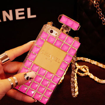 Stylish Perfume Bottle Bling Crystals Sparkles Fashional Sparkle Swarovski Chain Case iphone 4 4s 5 5s 5c,Samsung note1/2/3,Galaxy s3/s4/s5