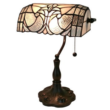Tiffany Style  Floral Banker Tiffany Style Table Lamp 13 In