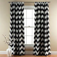 Lush Decor C21293P14-000 Chevron Black 84 x 52-Inch Blackout Window Curtain Panel Pair