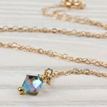 "Swarovski necklace, gold filled pendant, olivine necklace, crystal necklace, tiny charm necklace, swarovski jewelry, bridal necklace, ""Idaia"