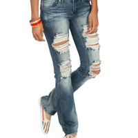 Destroyed Blasted Bootcut Jean | Shop Just Arrived at Wet Seal